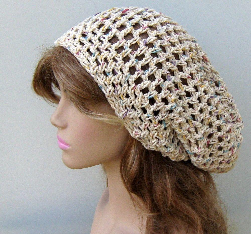 Potpourri Cotton hippie slouchy snood beanie, small dread tam hat ...