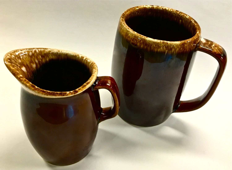 Vintage Collectible Brown Drip Hull Pottery Mug and