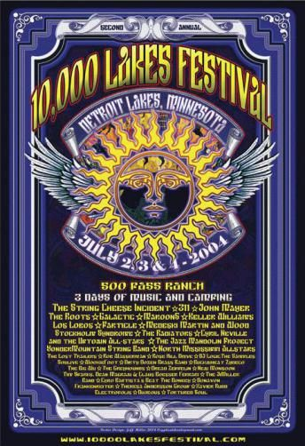 Original concert poster the 10,000 Lakes Festival. Featuring Stockholm Syndrome (Schools of Widespread Panic), 311, John Mayer, String Cheese Incident, Roots, Galactic, Medeski Martin