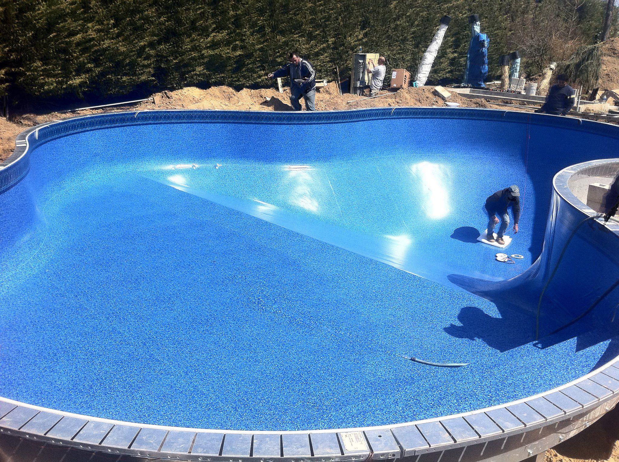 Lagoon Shaped Pool With A Vinyl Lancashire Bluestone 28 20
