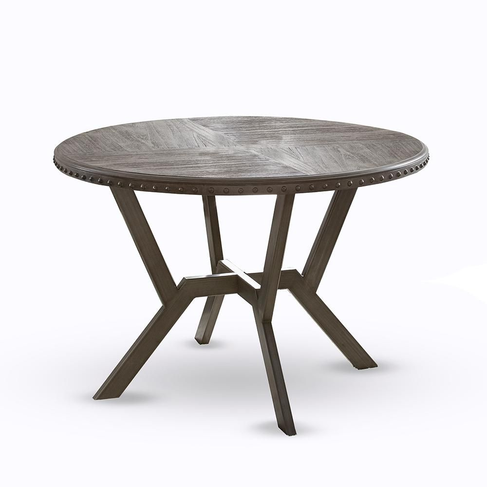 Steve Silver Alamo Round Gray Wire Brushed Dining Table Al450t The Home Depot Dining Table Round Dining Table Reclaimed Wood Dining Table