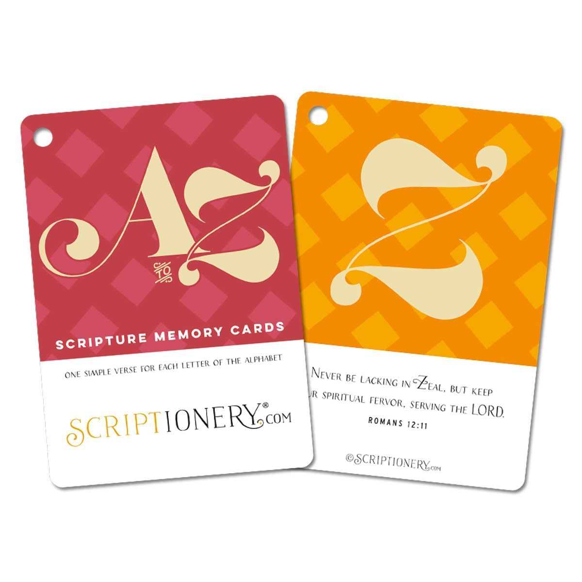 A to Z Scripture Memory Cards -- Perfect idea for the kiddo's Easter Baskets!! Teach your children Scripture from the Bible. Each card has one letter of the alphabet (A-Z) with an easy-to-memorize verse.