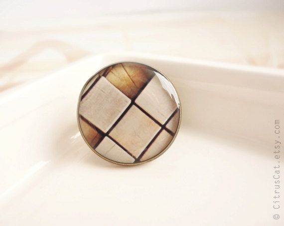 Abstract beige brown squares ring by CitrusCat on Etsy, $17.00