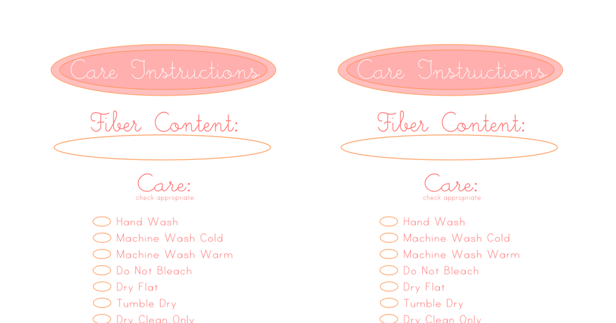 Care Instructions Card.pdf Instruction, Free printables