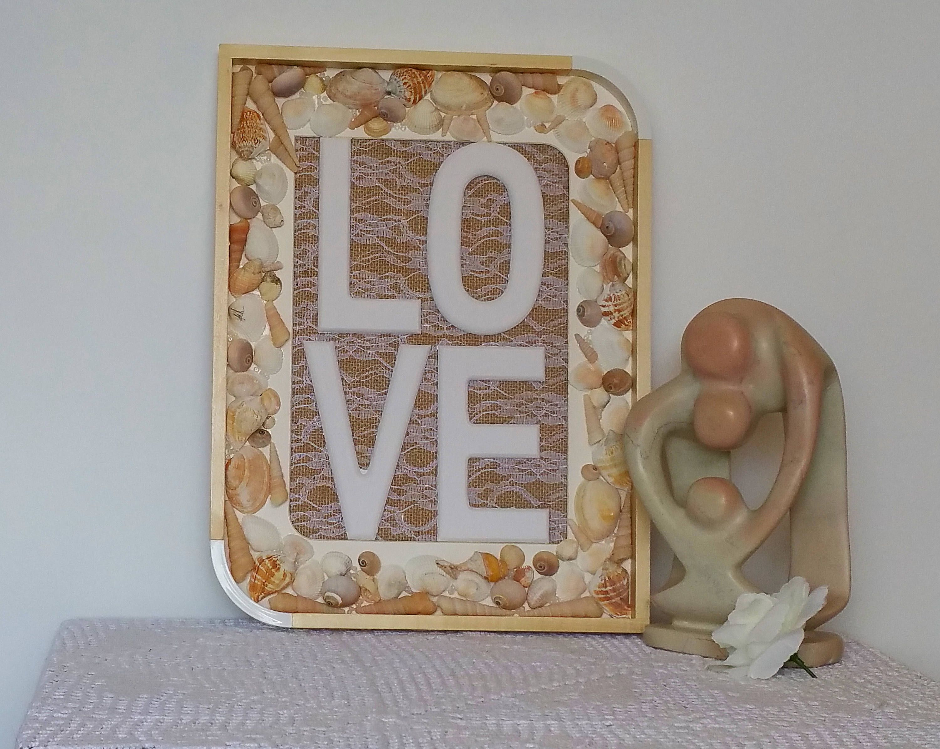 Rustic Love Sign With Shells Wedding Gift Beach Theme Mother S Day