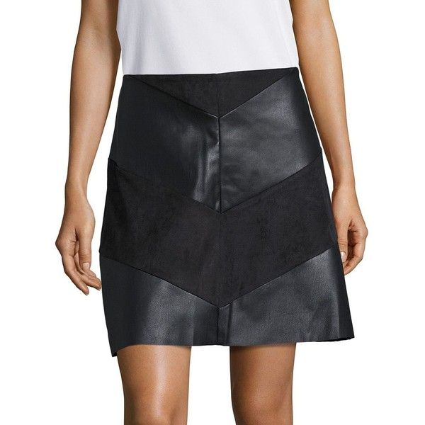 91574f569d Design Lab Lord & Taylor Leatherette and Faux Suede Skirt ($35) ❤ liked on  Polyvore featuring skirts, black, pleather skirt, leatherette skirt, ...