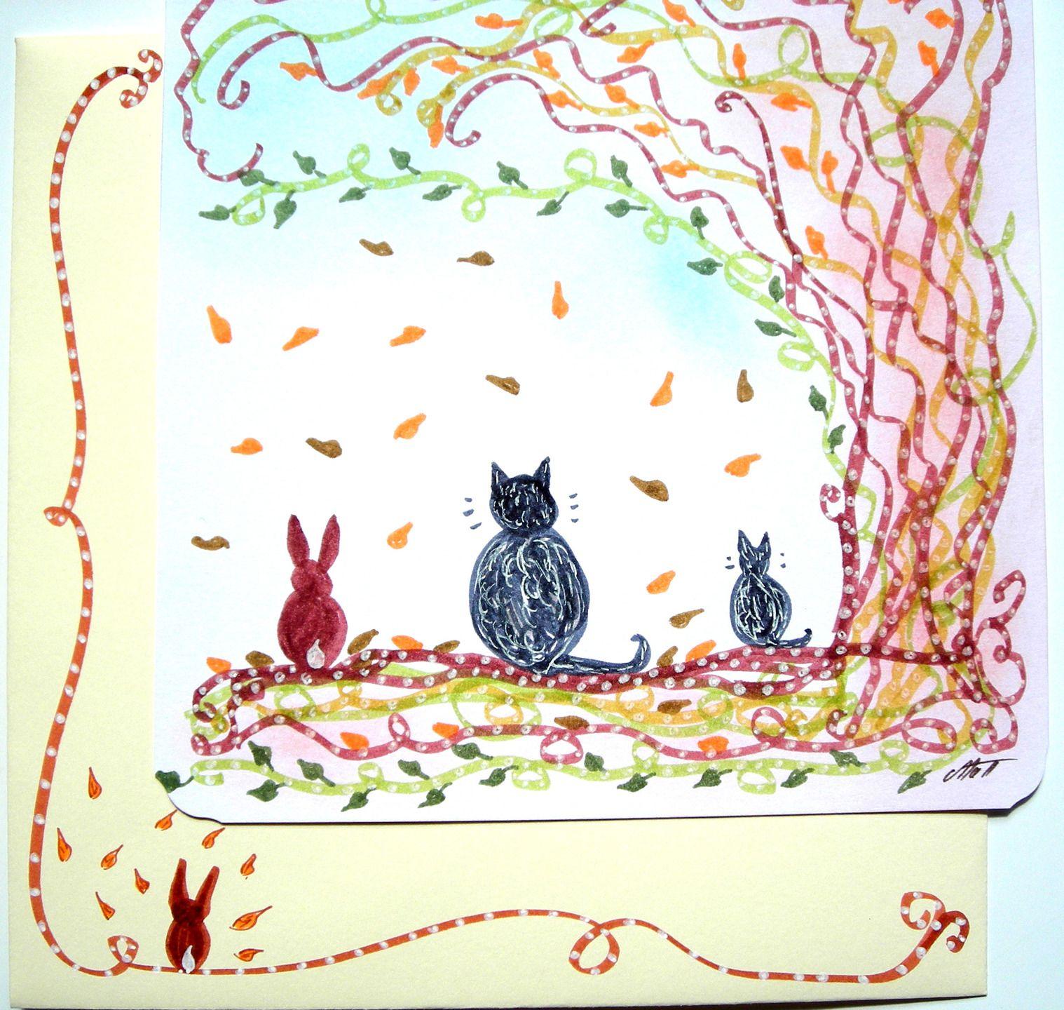 Très jolie carte postale dessinée accompagnée de son enveloppe assortie : Automne N° 3. : Cartes par matt-et-les-petits-cadeaux