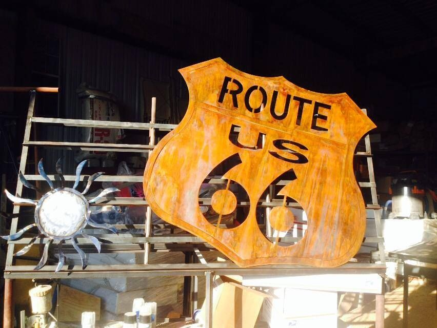 Route 66 sign.  #route66 #metalsign #wallsign #wallhanger #mancave