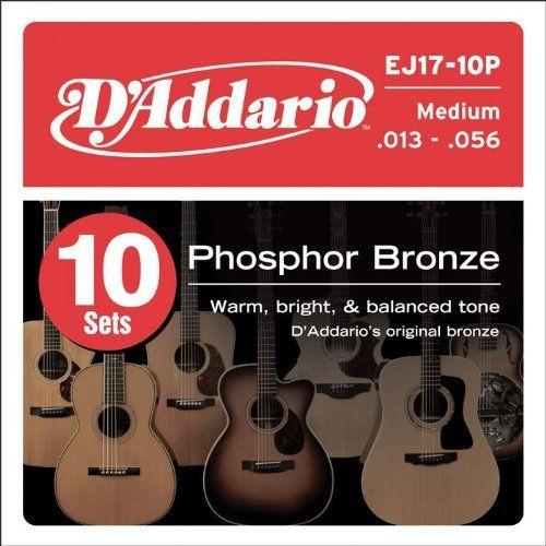 D Addario Ej17 Phosphor Bronze Medium Acoustic Strings 10 Pack By D Addario 48 49 Gauges 13 17 26 35 45 56 G Acoustic Guitar Strings D Addario Acoustic Bass