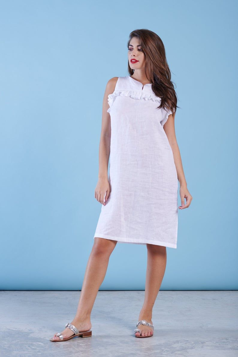 White Linen Dress Boho Wedding Dress Short Bridal Dress Etsy Short Bridal Dress Loose Fitting Dresses White Linen Dresses [ 1191 x 794 Pixel ]