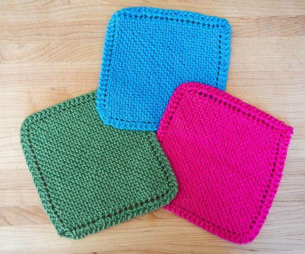 Easy Knit Dishcloth / Washcloth | Knitted washcloth ...
