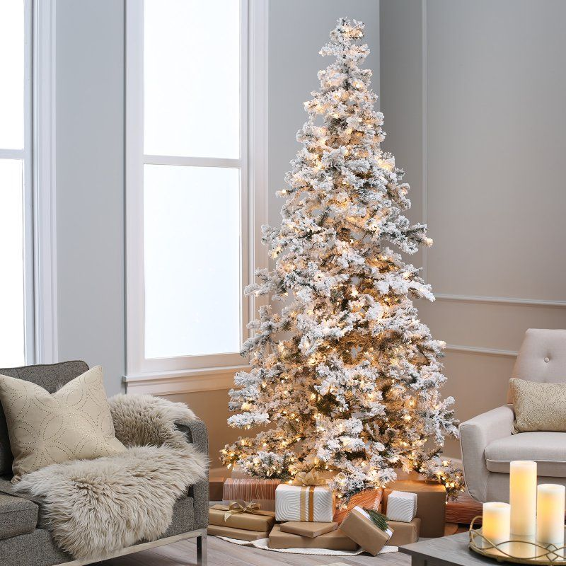 Heavy Flocked Layered Spruce Prelit Christmas Tree by