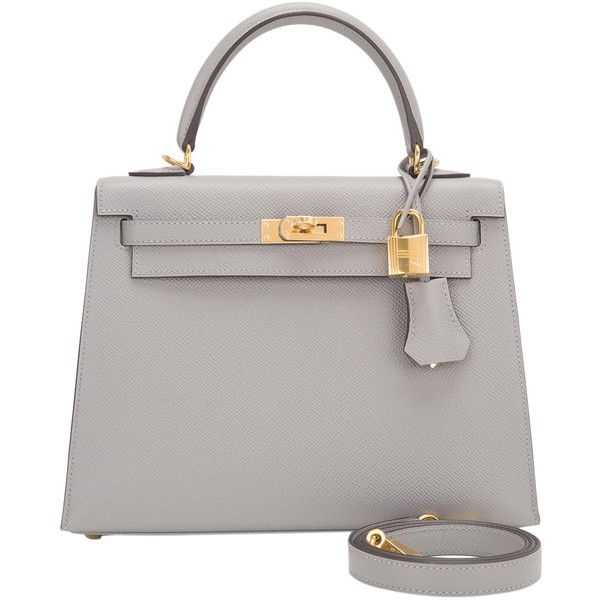 Pre-Owned Hermes Gris Mouette Epsom Sellier Kelly 25cm Gold Hardware  ( 22 52bd40a96a848