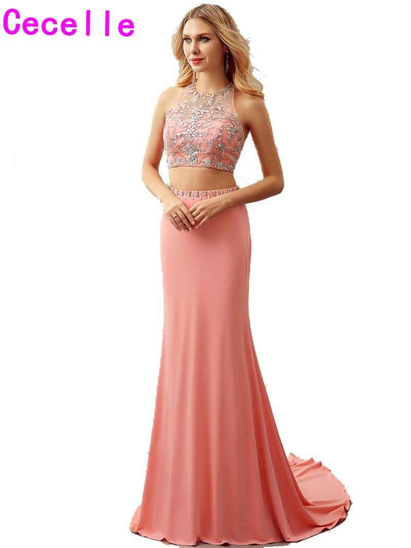 New Real Two Pieces Coral Mermaid Prom Dresses Long Sexy open