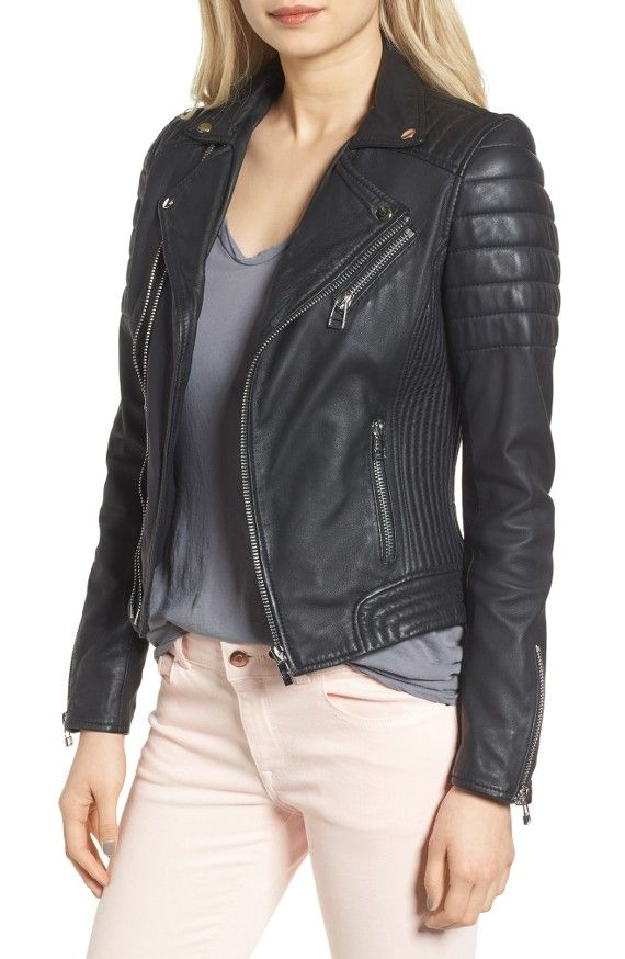 Goosedown Leather Biker Jacket $299 at Nordstroms