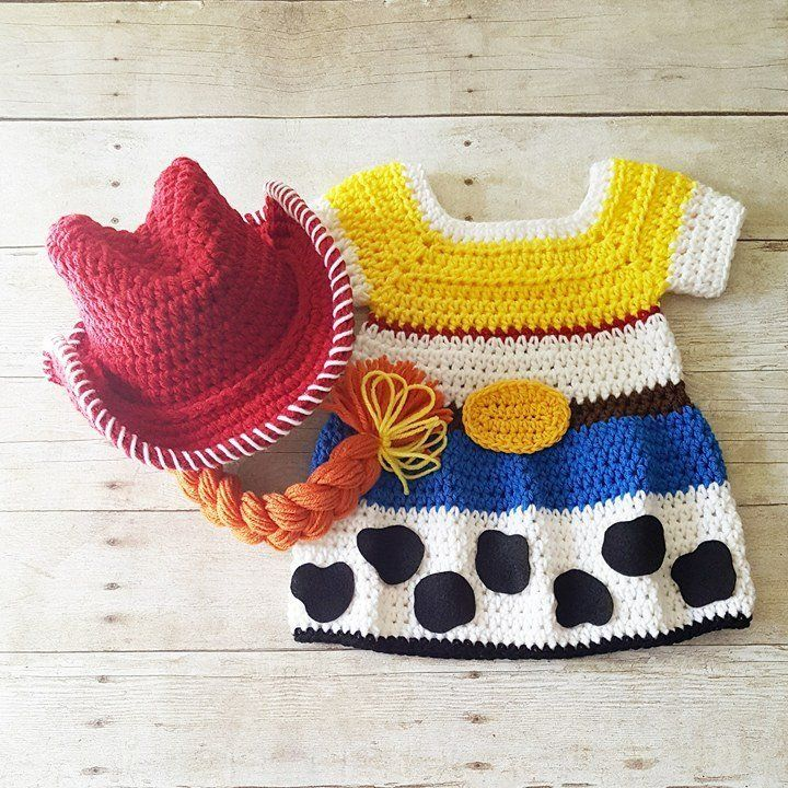 Crochet Baby Jessie Dress Toy Story Skirt Cowgirl Hat Beanie Bonnet Braid Cowboy Infant Newborn Baby Photography Photo Prop Baby Shower Gift #cowboysandcowgirls