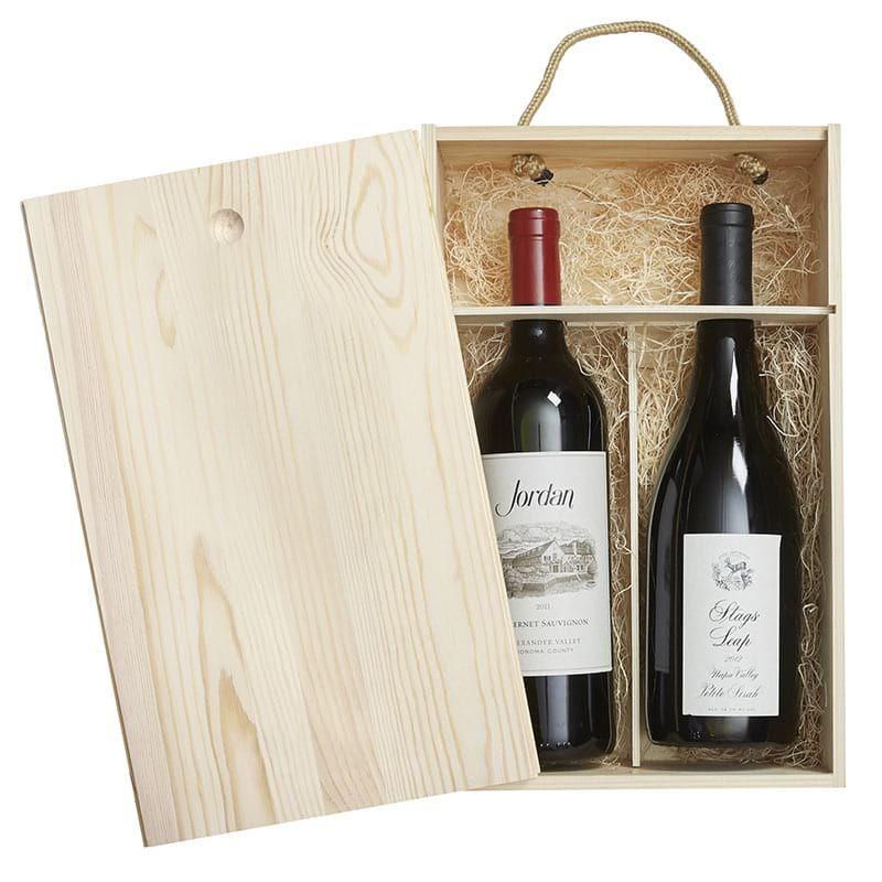 Pine Wood Box 2 Bottle Wood Boxes Wood Gift Box Wine Gift Boxes