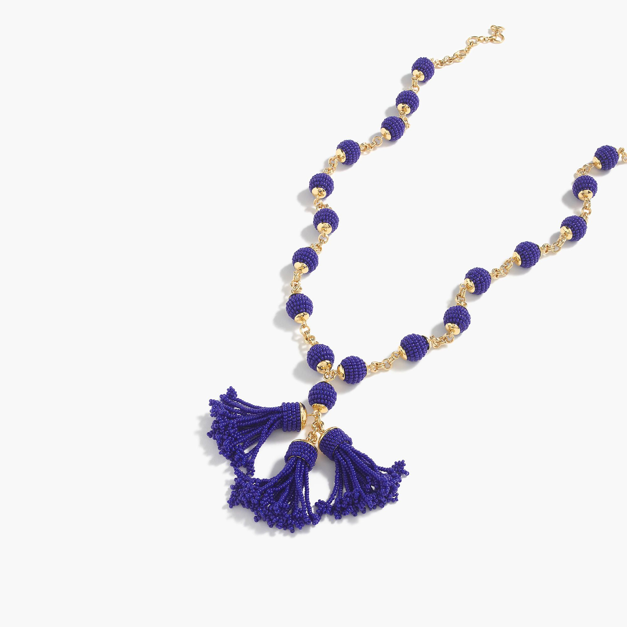 Shop the Beaded Tassel Pendant Necklace at JCrew.com and see the entire selection of Women's Necklaces.