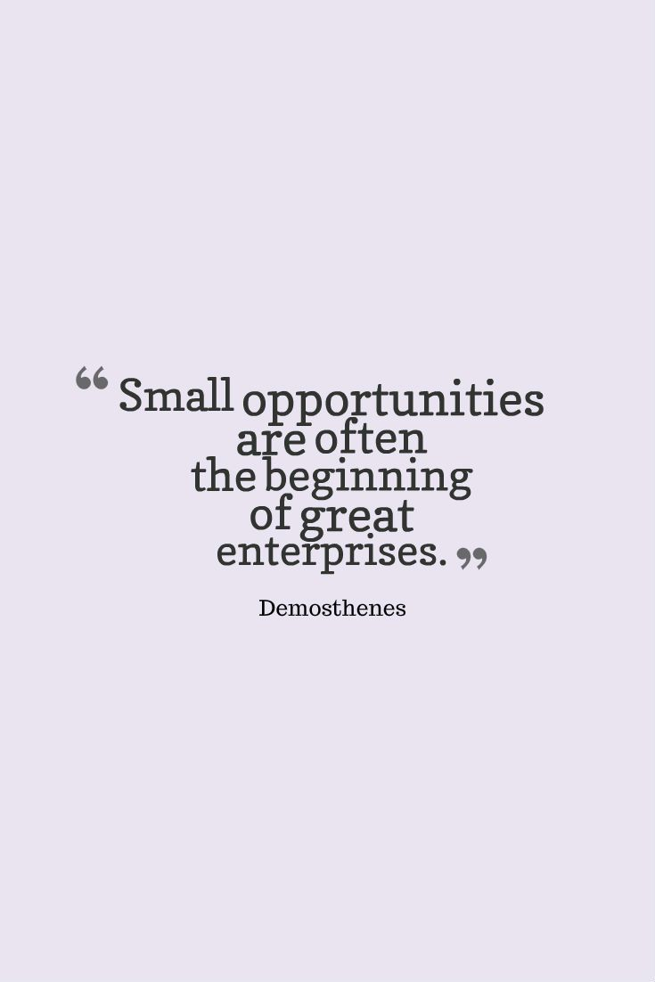 Small Opportunities Are Often The Beginning Of Great Enterprises