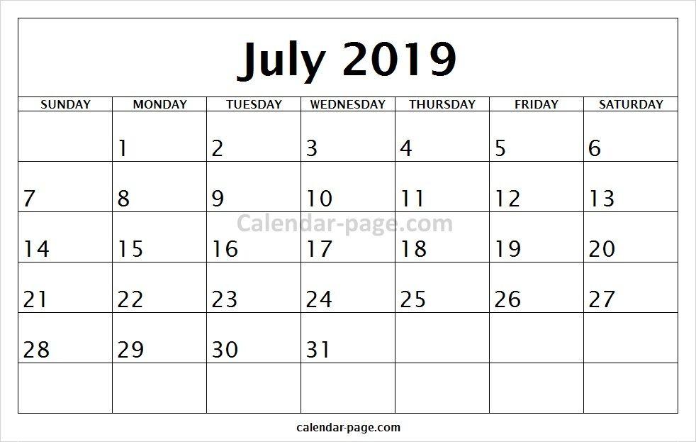 Blank Printable July Calendar 2019 to Print | Blank Calendar