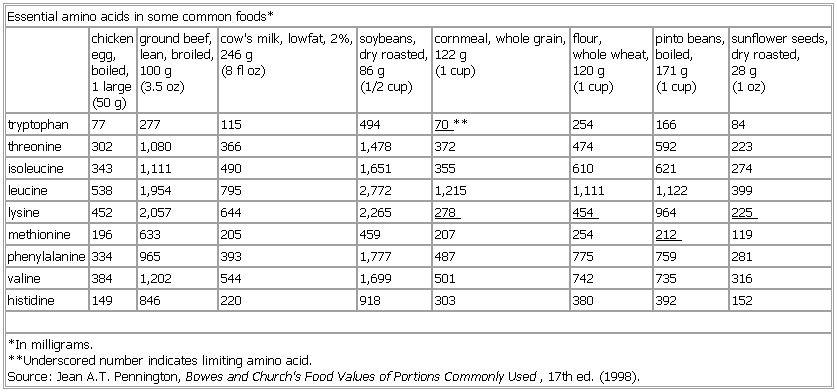 Essential Amino Acids Food Sources Essential amino acids in some - amino acid chart