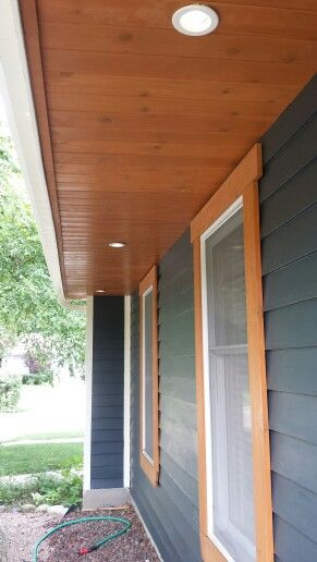 Cedar Tongue And Groove Under The Overhang Window Trim Exterior House Paint Exterior House Exterior