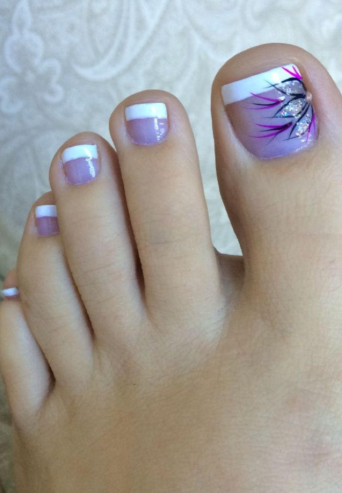 Pedicure hair and beauty pinterest pedi pedicures and toe love this purple french pedicure prinsesfo Choice Image