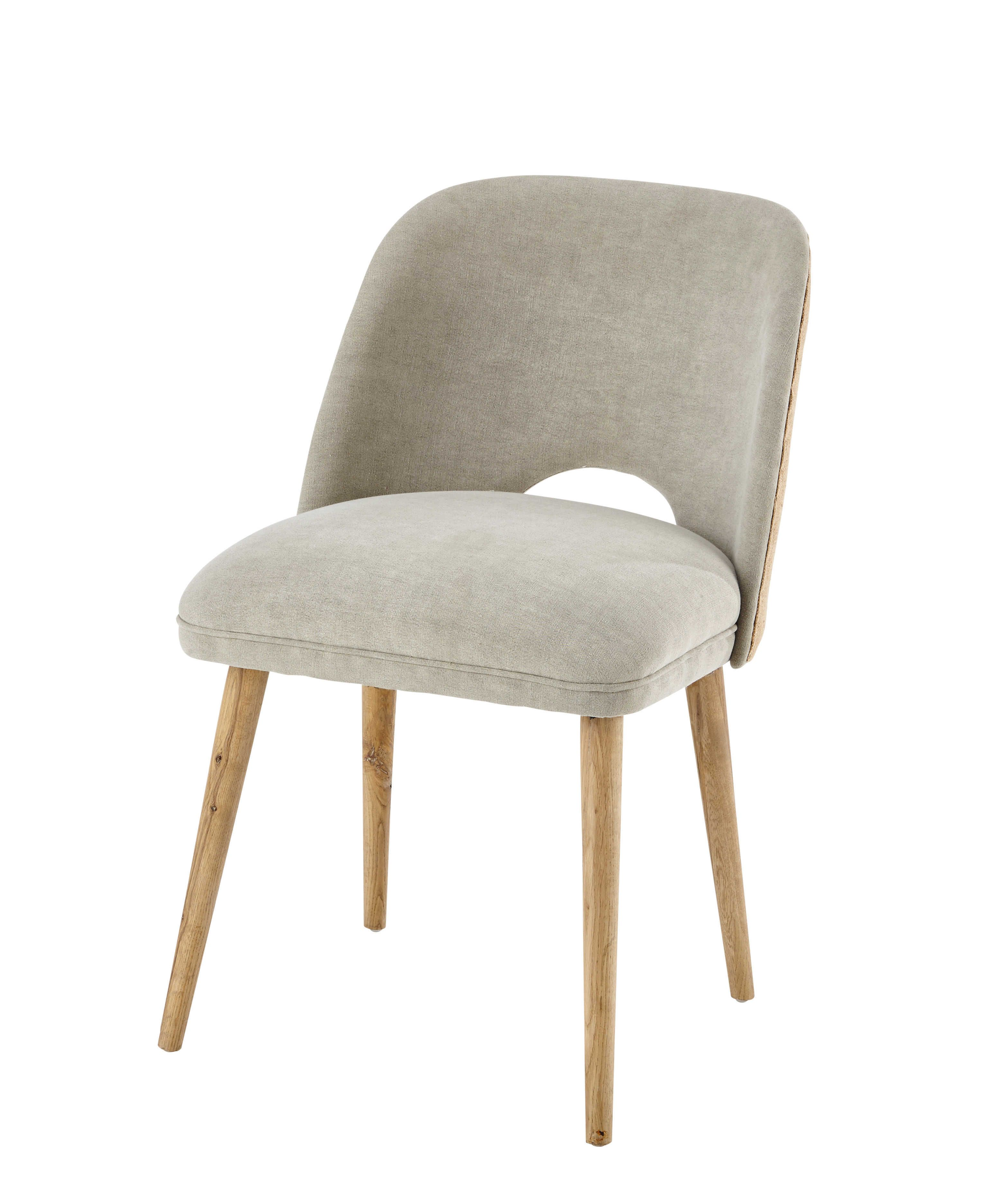 Silla de lino y roble macizo roble macizo roble y sillas for Sillas maison du monde
