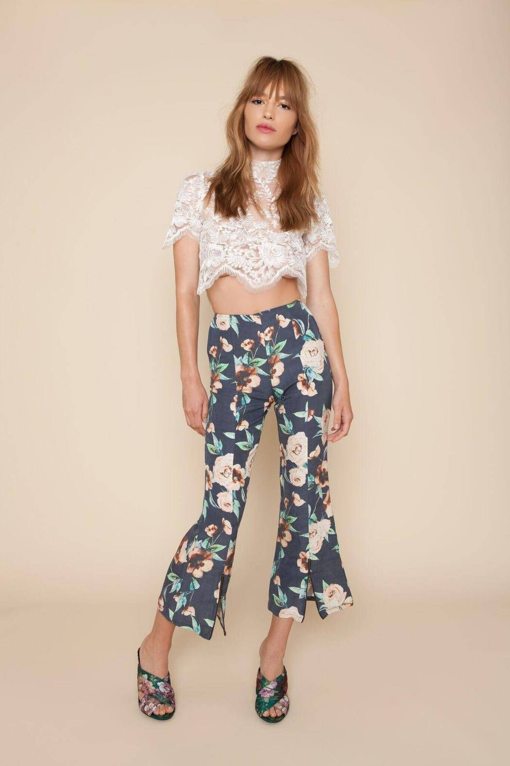 Navy Cosmo print stretch silk/linen blend Print designed in-house by STONE COLD FOX Cropped bell bottom pants Back zipper entrance Decorative zippers at bottom High Waisted Made in Los Angeles DRY CLEAN ONLY.   Floral Bell Pant  by Stone Cold Fox. Clothing - Bottoms - Pants & Leggings - Flare & Wide Leg Clothing - Bottoms California