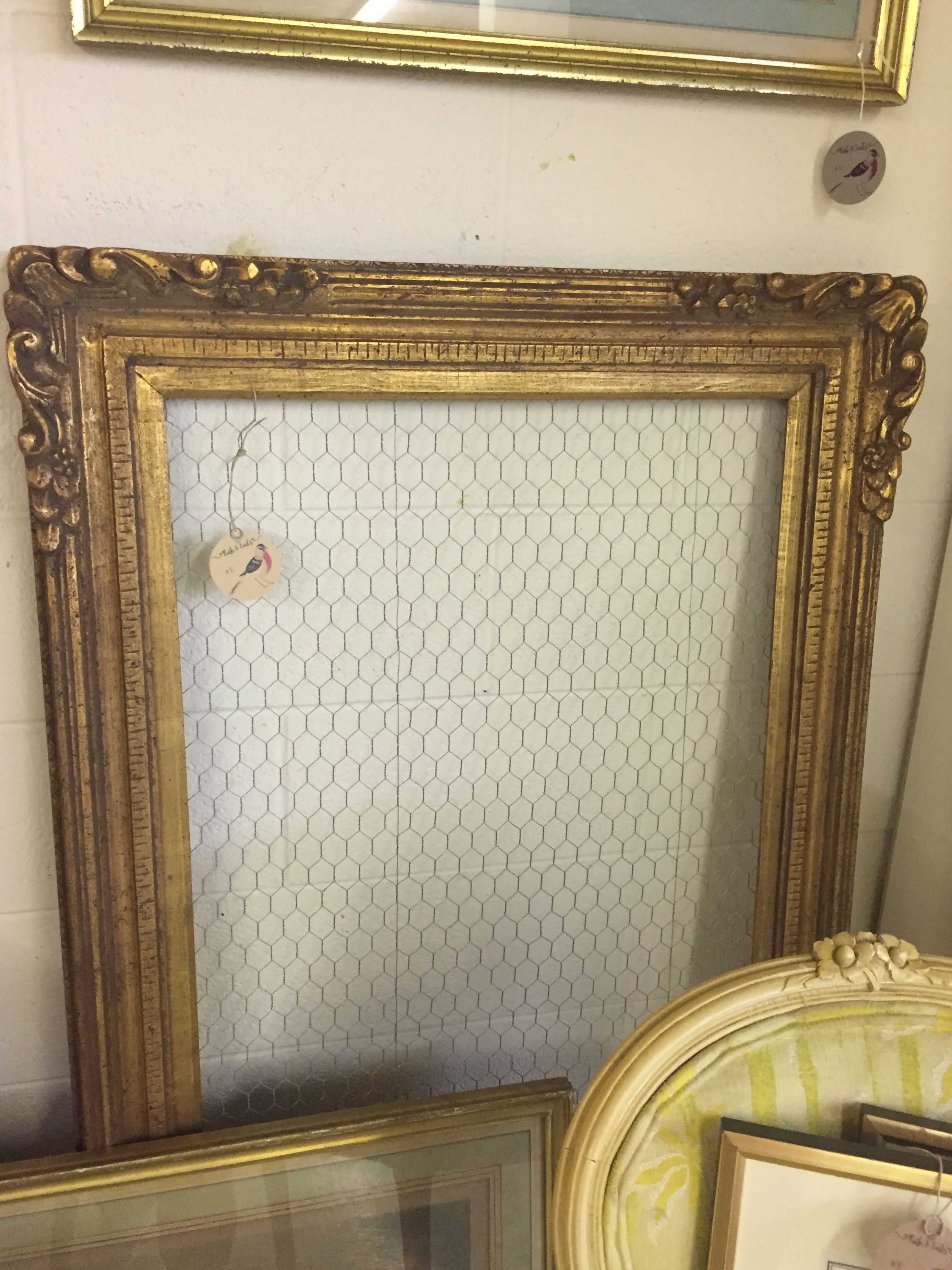 2\'x4\' antique gold frame with chicken wire. Jewelry hanger or memo ...