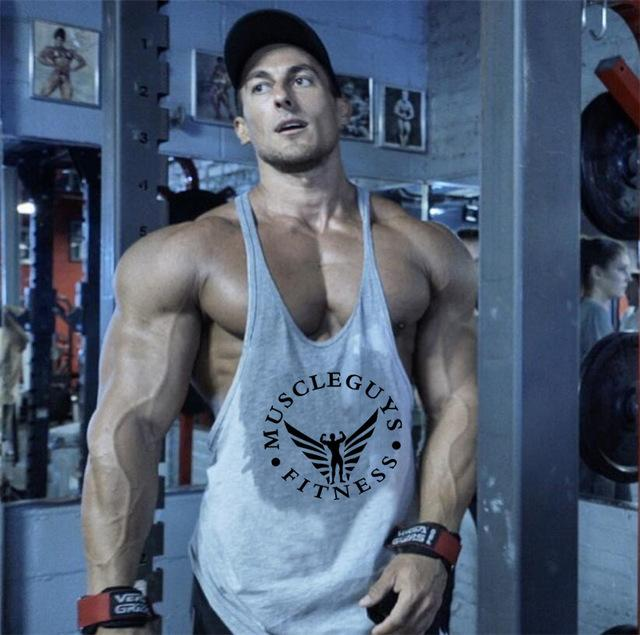 29b6a14b Fitness bodybuilder superman cotton sleeveless t shirt workout clothing Y  back 1cm stringer men tank tops sexy undershirt man
