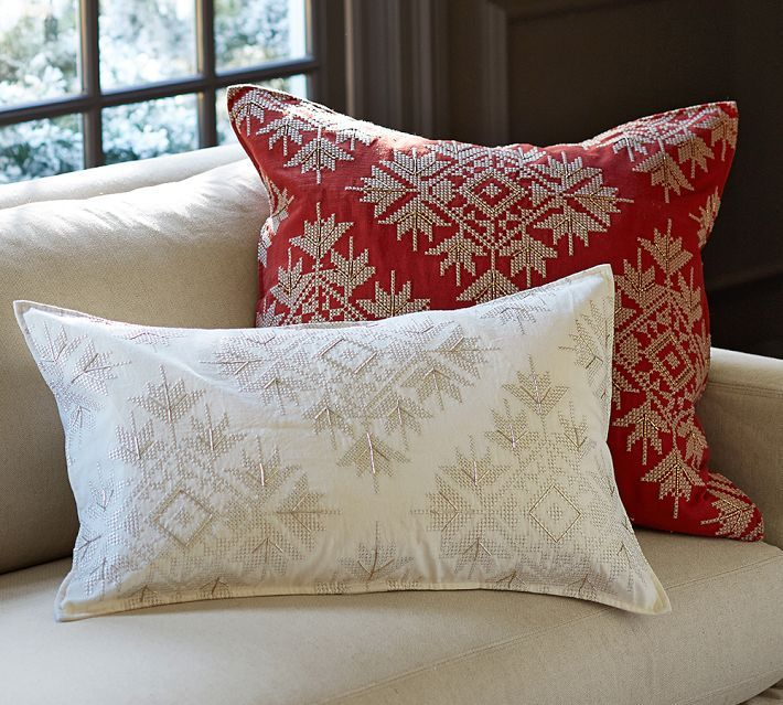 Crosstitch Snowflake Pillow Cover Decorative holiday