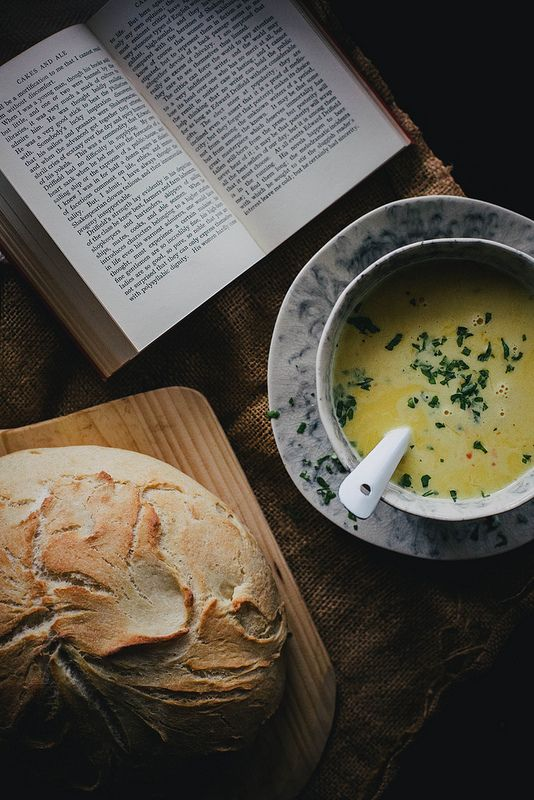 """Local Milk   curried kabocha squash soup & """"no time"""" bread, for rain & for her"""