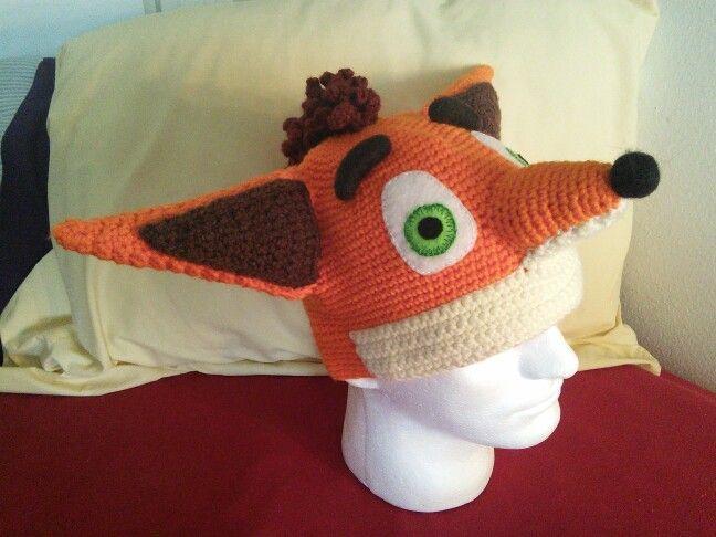 Crash Bandicoot Crochet Hat With Felt Embroidered Eyes