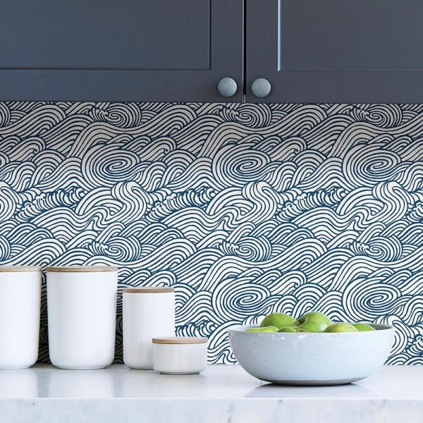 Nuwallpaper Navy Saybrook Navy Vinyl Strippable Roll Covers 30 75 Sq Ft Nus3562 The Home Depot Nuwallpaper Peel And Stick Wallpaper Paintable Wallpaper