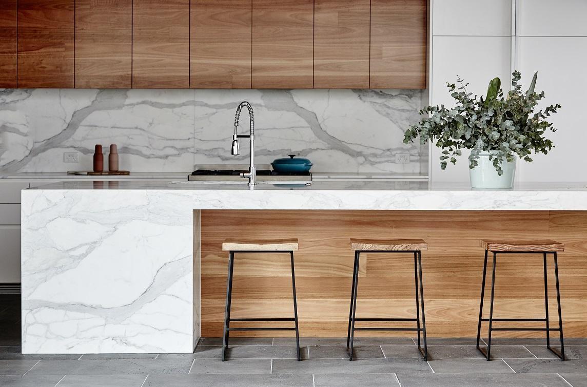 White Kitchen Bench Pantry Organization Ideas Shelter Rectangular Barstools Room Pinterest Marble Benchtop Benchtops Design Countertops Wood Island