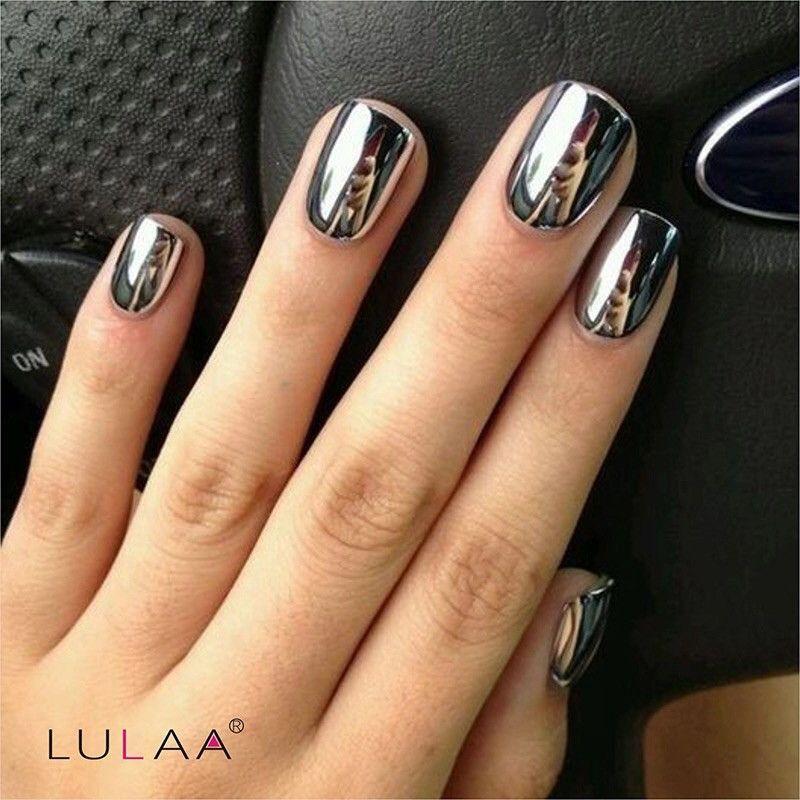 2pc Silver Mirror Effect Fashion Metal Nail Polish Varnish Top Coat Metallic Nails Art Tips Set
