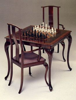 Custom Made Black Walnut Walnut Burl Chess Table And Chairs Chess Table Game Room Chairs Table And Chairs