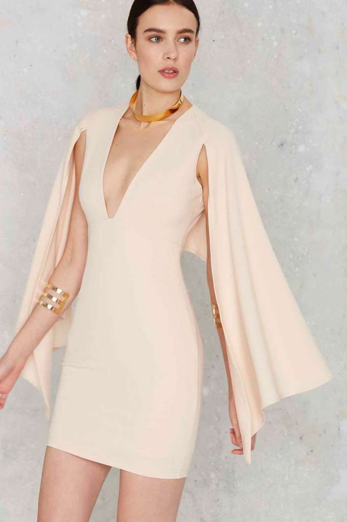 Kendra Plunging Cape Dress - Nude - Clothes | Going Out | Body-Con | LWD | Solid