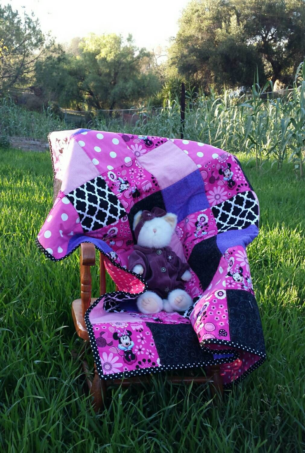 Minnie Mouse Bowtique Pink and Black 100% cotton baby patch quilt ready to ship by SpringAndAStorm on Etsy