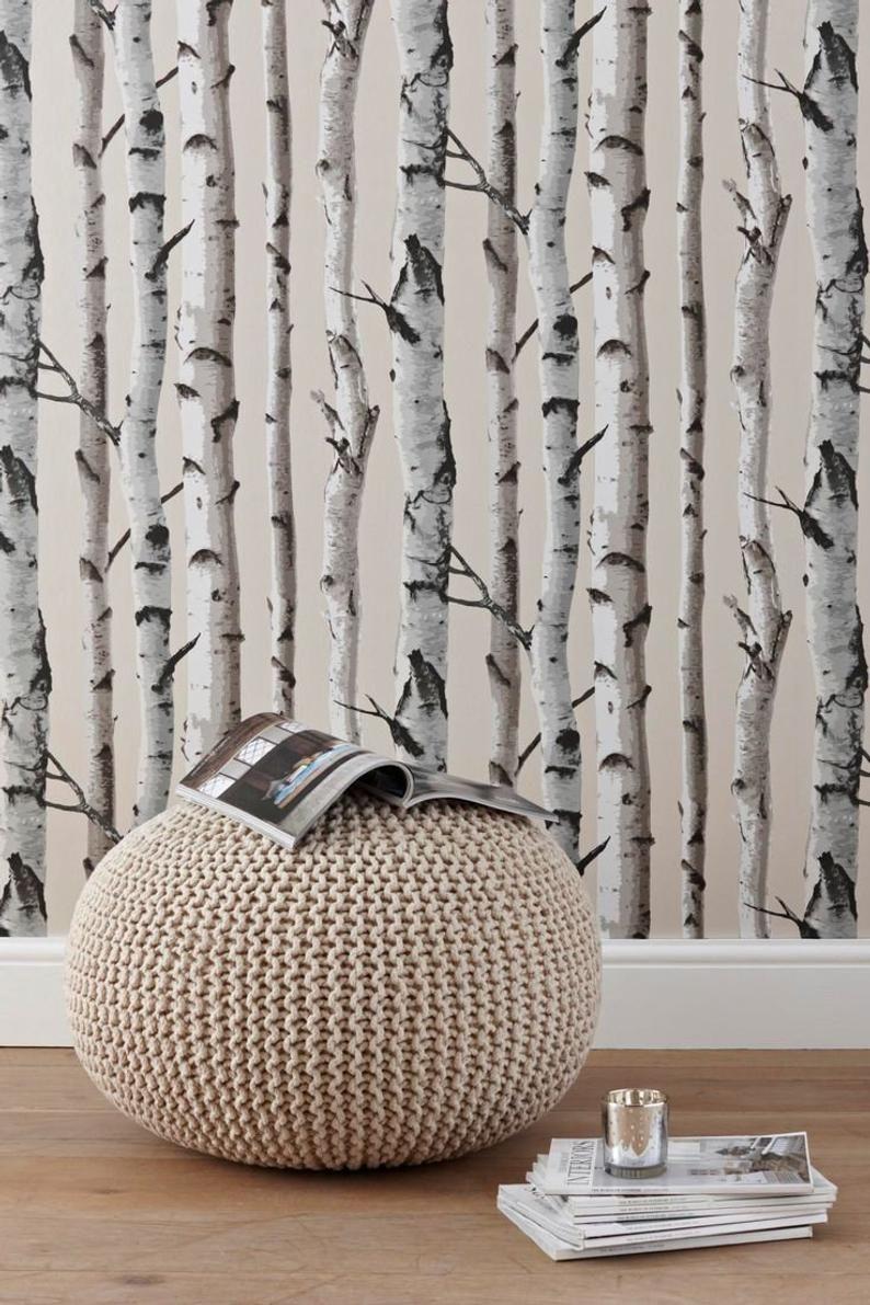 Birch Trees Peel And Stick Botanical Farmhouse Wallpaper Nu1650 In 2021 Birch Tree Wallpaper Tree Wallpaper Bedroom Wallpaper Living Room