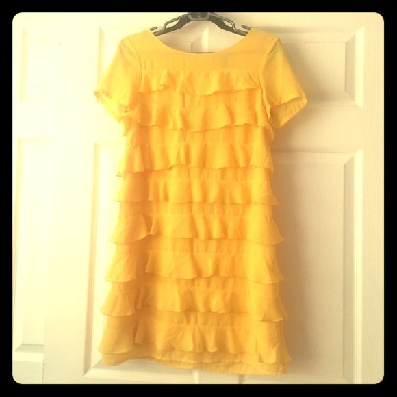 H&M Yellow ruffle dress Only worn once, no imperfections. H&M Dresses