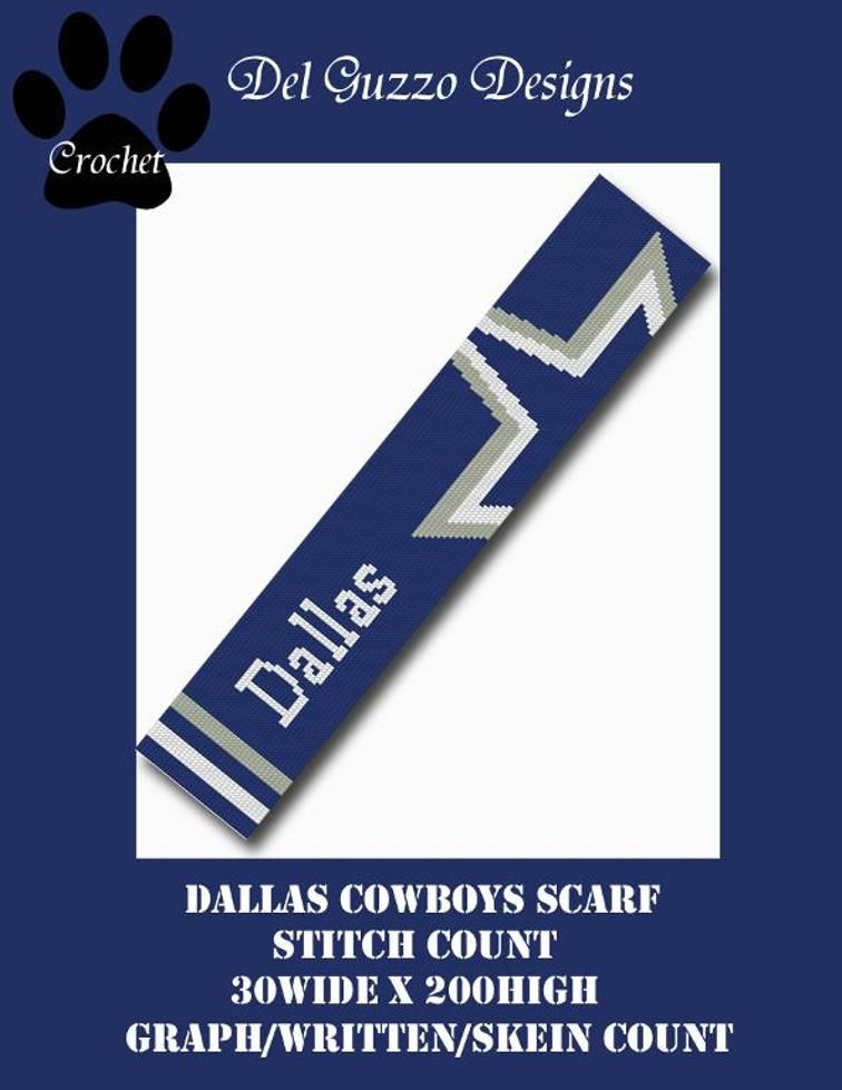 Nfl Dallas Cowboys Scarf Graph Written Crochet Sports Football