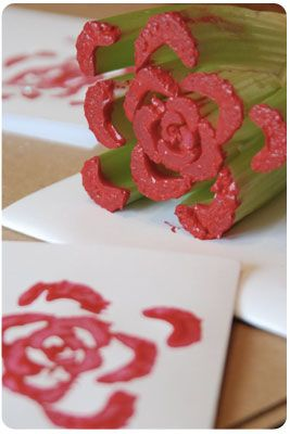 The cheapest stamp on the planet!  Create a flower stamp with an old stalk of celery!