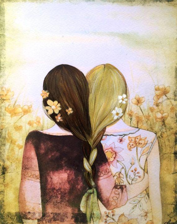 53 Best F U N N Y Images On Pinterest: Blonde And Brown Hair Sisters Best Friends Art Print In