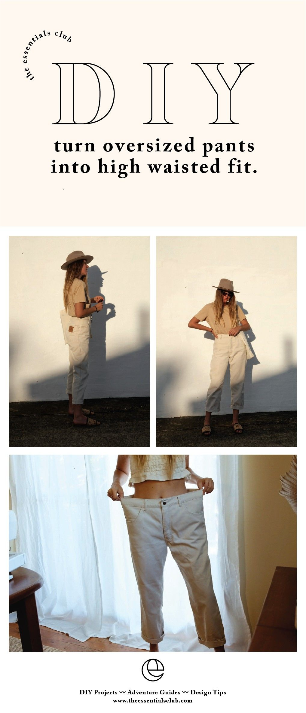 Two ways to transform an oversized pair of pants  The Essentials Club  Creative DIY Hub Source by porsha007 clothes ideasDIY Two ways to transform an oversized pair of pa...