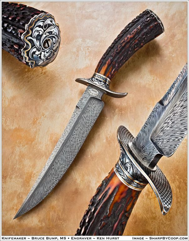 Feather pattern Damascus steel blade skinning knife sheath Stag Antler scale