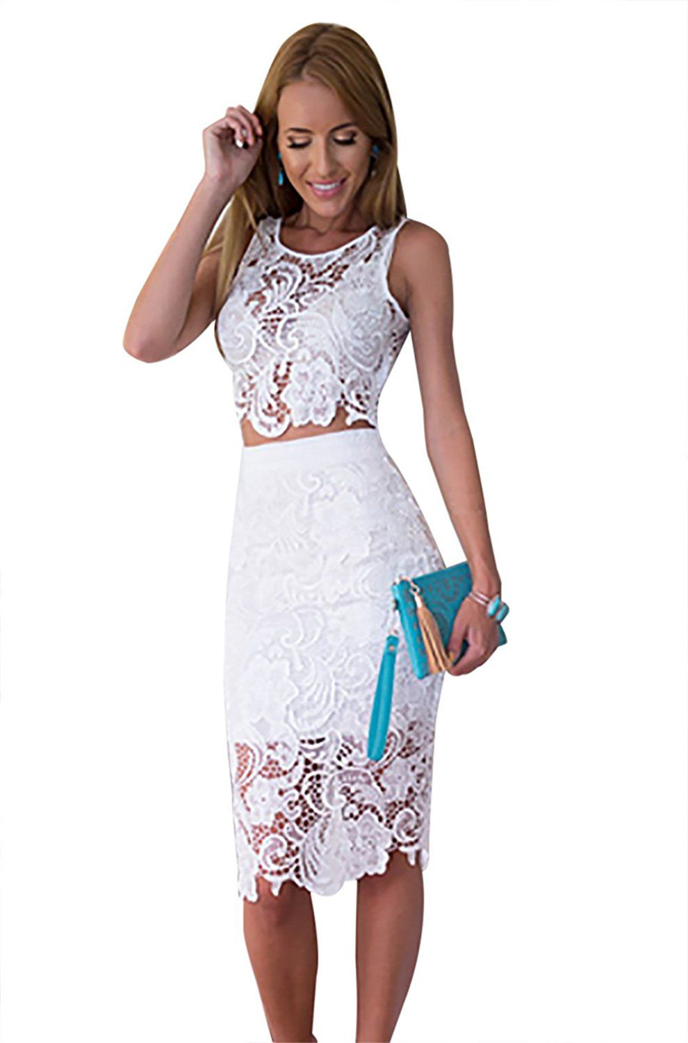 f71a1a12217 Amazon.com: Moxeay Sexy Lace Top Skirt Set Two Piece Bodycon Evening Midi  Dress: Clothing