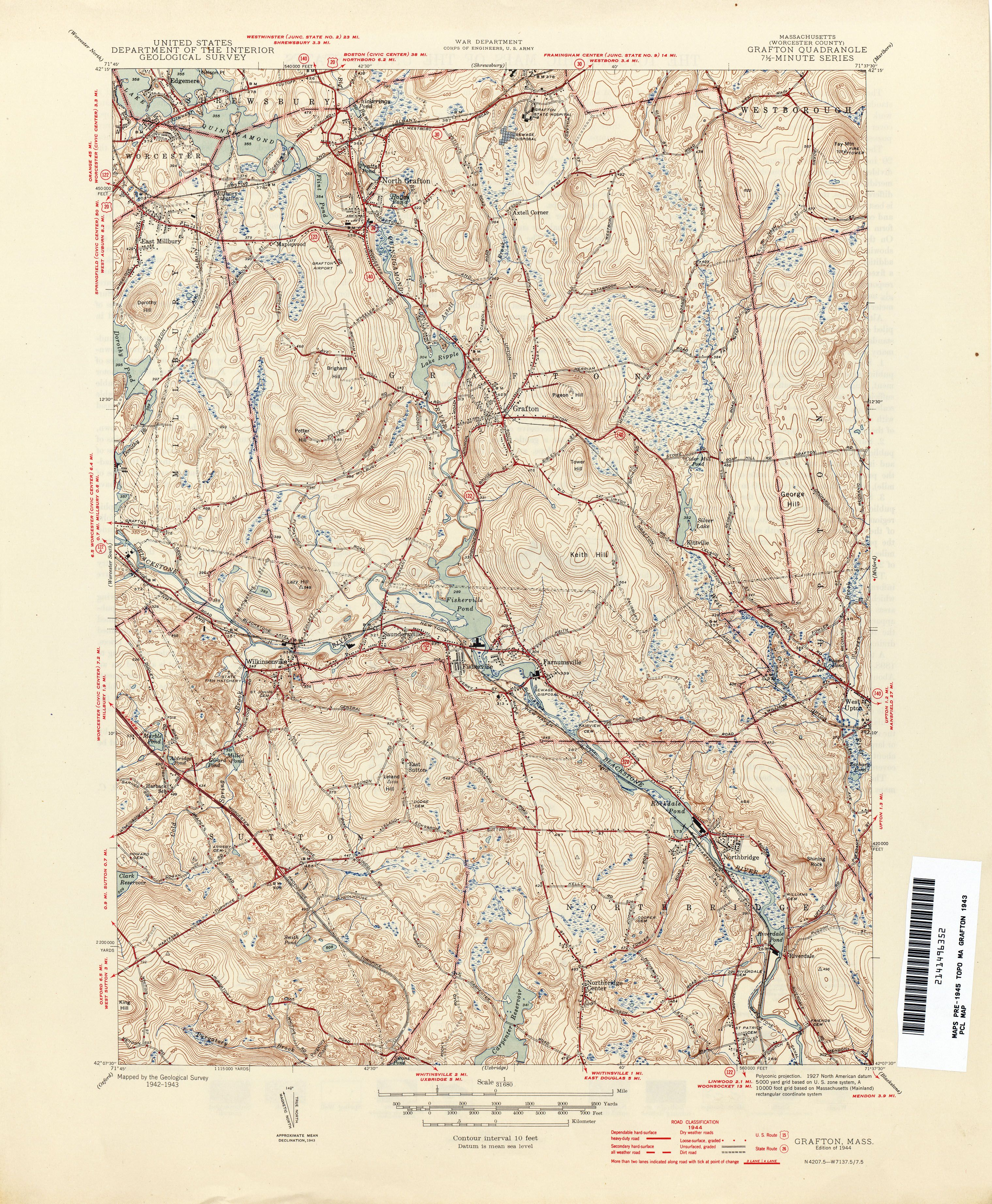 1944 Topographical Map Of Grafton Ma Mapped By Us Geological Survey - Massachusetts-in-us-map