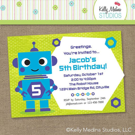 Custom robot birthday purple blue green printable personalized custom robot birthday purple blue green printable personalized digital invitation personal use only filmwisefo Images